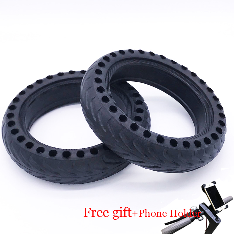 2pcs Xiaomi Mijia M365 Electric <font><b>Scooter</b></font> Skateboard Hollow Non-Pneumatic Tires Reinforcing Damping Solid Tyres with <font><b>Phone</b></font> <font><b>Holder</b></font>