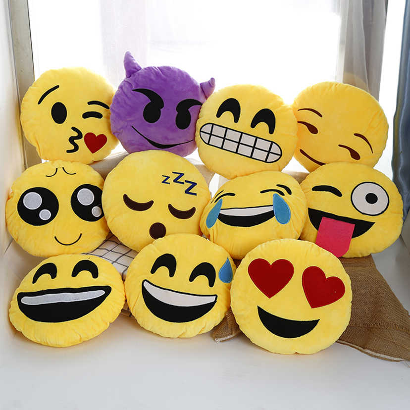 Cute Emoji pillow cushion 32cm yellow round decorative pillows Smiley Face Pillow emoticons cushions lover unique gift New1549