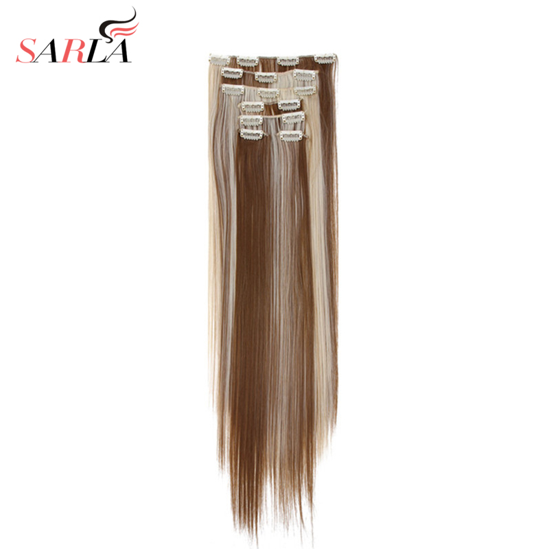 SARLA 20 Sets lot Full Head Clip In Hair Extensions Heat Resistant Hair 22 55cm Straight
