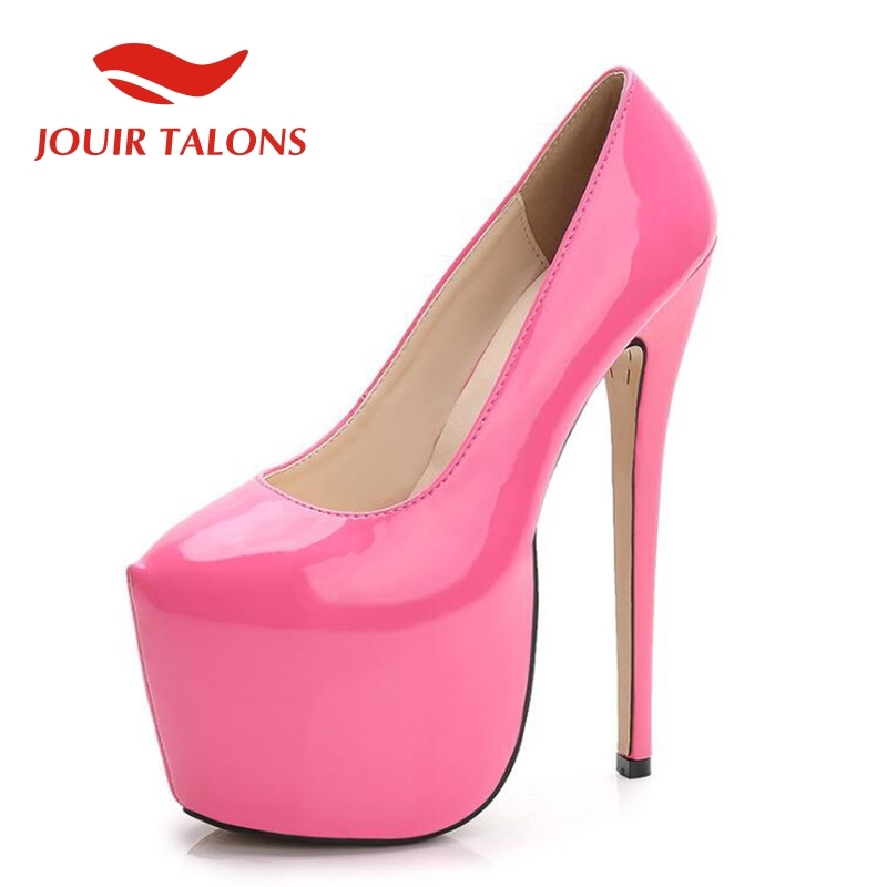JOUIR TALONS dropship large Size 44 Classic <font><b>18cm</b></font> <font><b>high</b></font> <font><b>Heels</b></font> thick Platform Shoes Woman lady <font><b>Sexy</b></font> party wedding women shoes Pumps image
