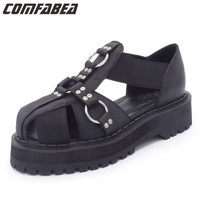 Europe And America Harajuku Shoes Black Metal Buckle Cross Rivets Thick Crust Punk Style Genuine Leather