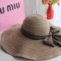 Солнцезащитные головные уборы лето хлопок солнцезащитный козырек шляпа пляж шляпа для женщины дамы большие краев шляпа с ленты