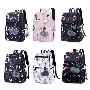 Image 5 - Fashion Female Backpack Flower Pattern Women Backpack Waterproof Shoulder Bags Teen Girl School bag Mochilas Female Student