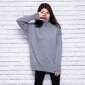 European Loose Turtleneck Solid Women Sweater Pullover 2016 New Winter Knitted Women Sweaters and Pullovers Slim 3 Color Jumpers