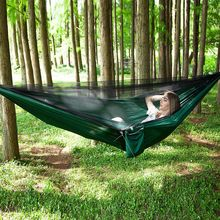 Newest Hammock Camping + Mosquito net Outdoor Camouflage Netting Hanging Bed Hammocks 290*140 + Wind Rope Nails Max 300KG Black