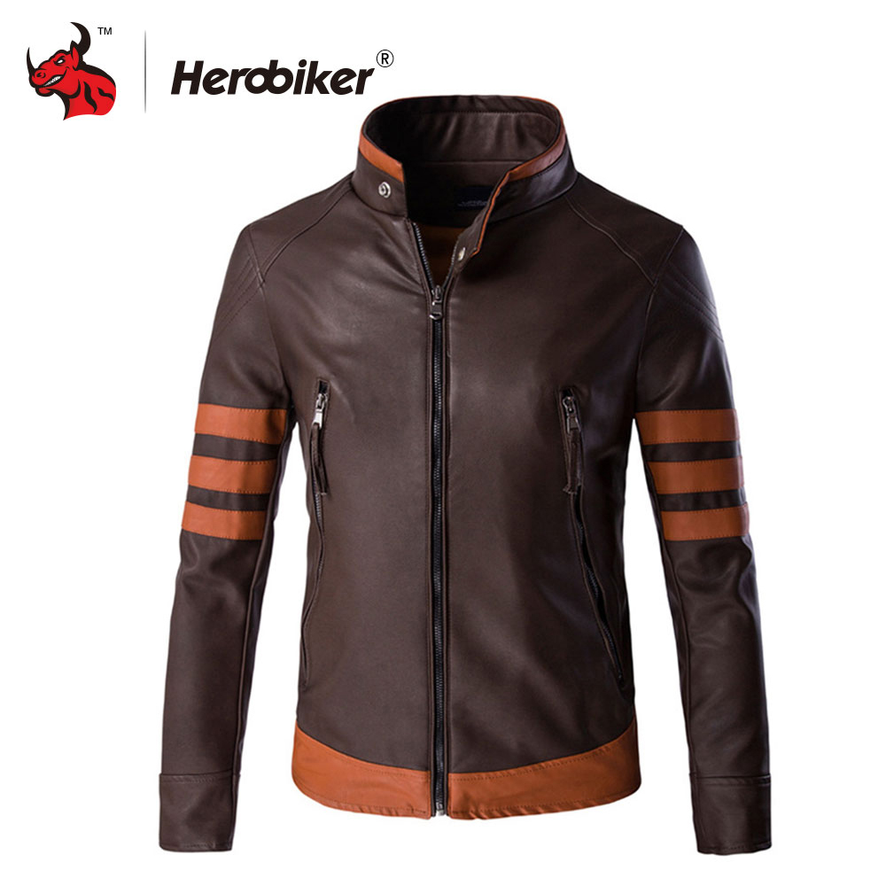 Motorcycle Jackets Men Vintage Retro PU Leather Jacket Punk Windproof Biker Classical Faux Leather Slim Moto