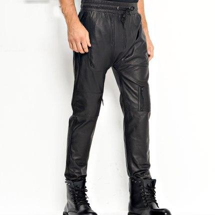 Men's Leather Pants Moto&Biker Punk Rock Pants Loose Sheepskin Leather Trousers  WZS003