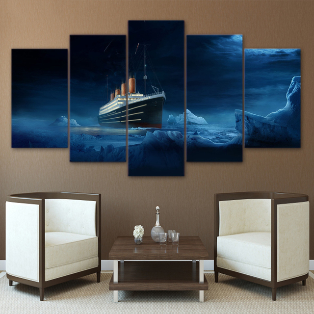 HD Printed Modular Picture 5 Panel Titanic Iceberg Movie Wall Art ...