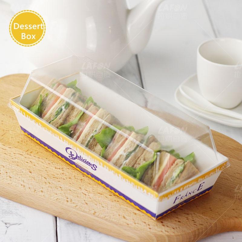Food Sandwich Box Salad Dessert Hotdog Long Cake Packaging Boxes with Transparent Lids Cardboard Paper Gift Box 10 pcs/lot