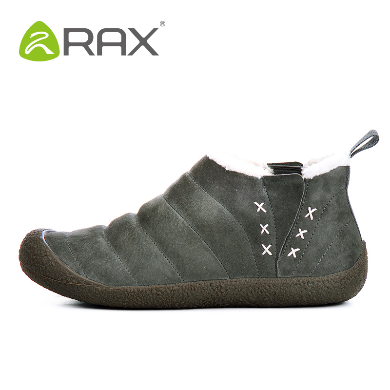 2018 RAX Men Women Hiking Shoes Warm Winter Outdoor Boots Breathable Walking Shoes Pig Leather Waterproof Snow Boots