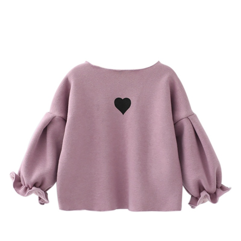 Winter Warm Clothing Cute Sweatshirt For Girls Kid Long Sleeve Puff Girl Tops Children puff sleeve peplum top