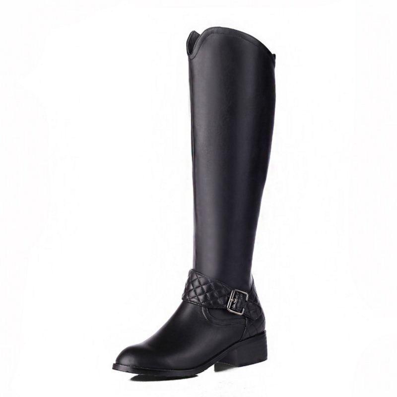 Taille Bottes 33 Talon Genou Carré Femmes Noir Véritable Cuir En Chaussures Rond Nouvelles Zipper Bout Femme 46 Chevalier Botas waaxZY8A