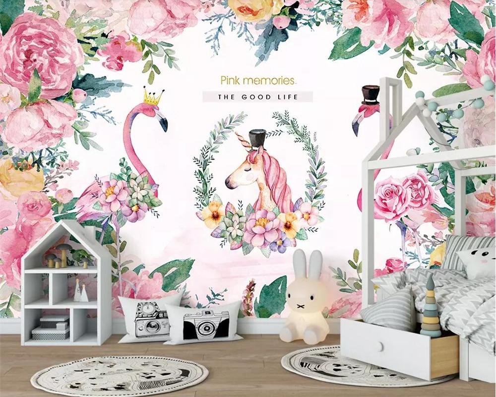 flamingo unicorn beibehang nordic decoration children bedroom living