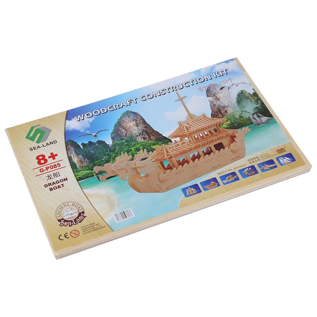 KEOL Best Sale Dragon Boat Model 3D Wooden Construction Kit DIY Puzzle Toy Gift