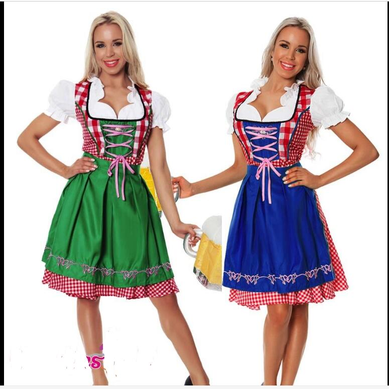 Free Shipping Cheap Hot Womens German Beer Girl Costume Fraulein Dirndl Fancy Dress Oktoberfest Costume Costume Halloween Women