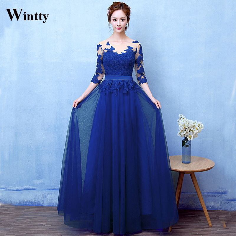 Wintty Real Photo Three Quarter Sleeves Evening Dress 2017