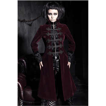 Fashion Gothic Punk Womens Streampunk Jacket Coat Hoodie Black Military Cosplay outfit Y401 - DISCOUNT ITEM  0% OFF All Category