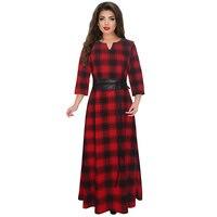 5XL Elegant Maxi Plaid Women Dress 3XL Big Size 2018 Spring Summer 4XL Plus Size Long Dress Casual Dress Vintage Vestidos