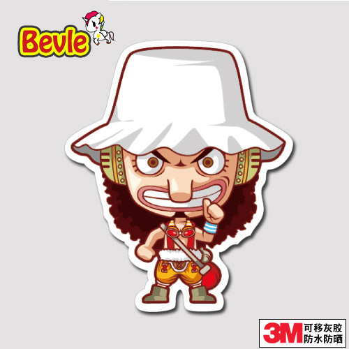 Bevle One Piece Usopp Graffiti Luggage Laptop Decal Toys Bike Car Motorcycle Phone Snowboard Doodle Funny Cool 3M Sticker