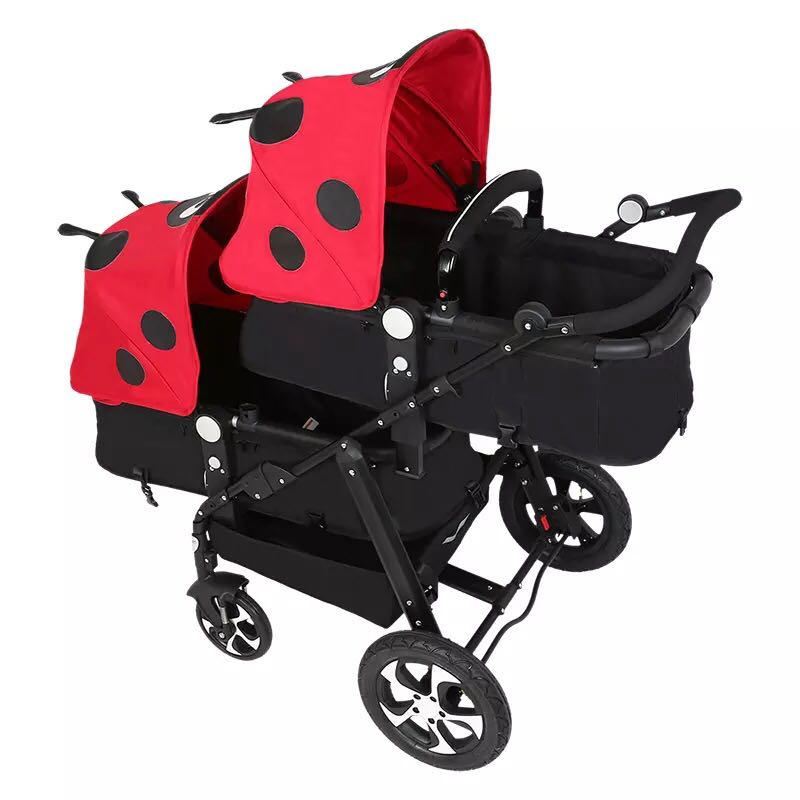 KDS twins strollers 0-4 years used light twin prams with 4 protection parts for stroller big space twins prams for children 0 4 years baby carrinho for twin with all cover sun canopy oxford fabric twin baby carrier