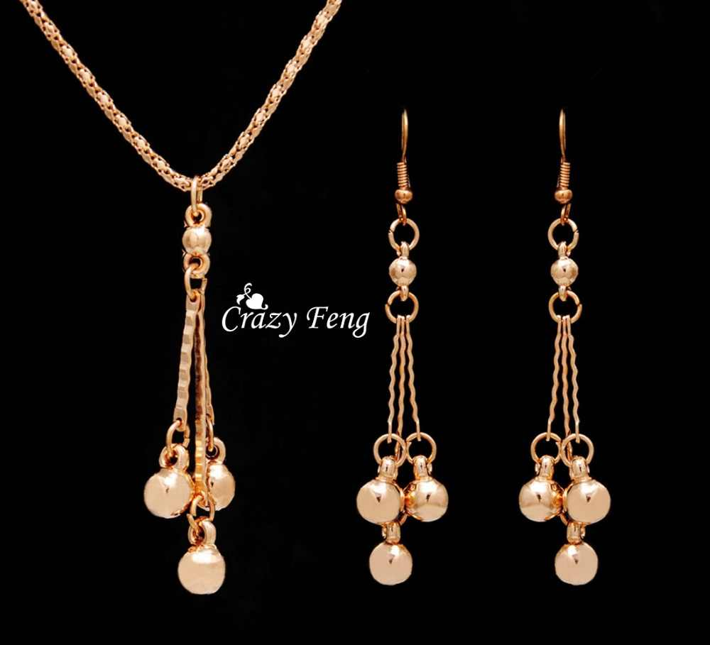 Trendy Jewelry Sets Necklace Earrings For Women With Dangle Pendants Gold Color Bridal Party Costume Jewelry Bijouterie