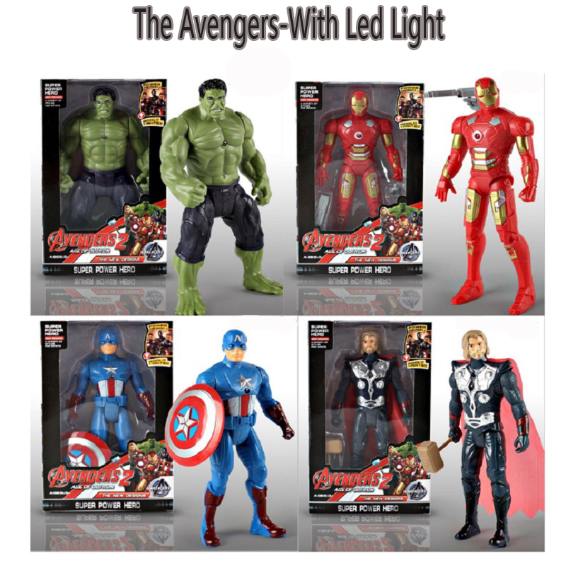 Cartoon The Avengers Hero Led Light Anime Figure Toys Hulk Captain America Iron Man Thor Display Model Toys Birthday Juguetes 2017 new avengers super hero iron man hulk toys with led light pvc action figure model toys kids halloween gift