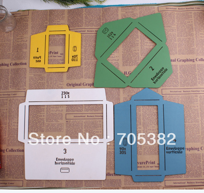 New wooden envelope template Manual stencil mould make 4 different size envenlops, wholesale(ss-5929)