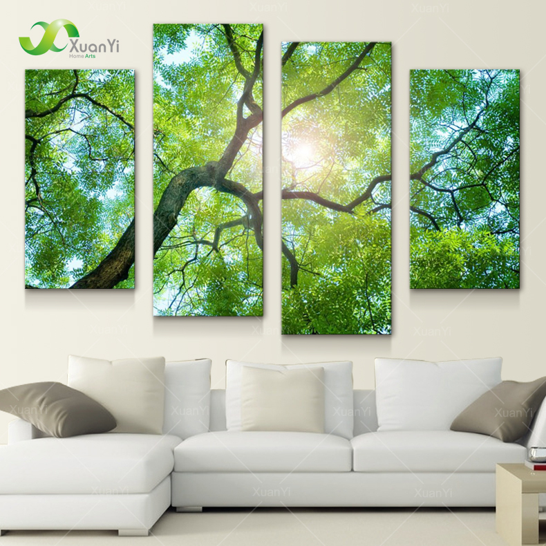 Exceptional 4 Panel Modern Printed Nature Tree Oil Painting Canvas Wall Art Cuadros  Decoracion Wall Pictures For Living Room Unframed PF1079 In Painting U0026  Calligraphy ...