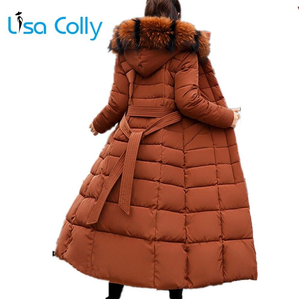 Lisa Colly women winter Artificial Fur hooded coat Jacket Super Long cotton padded Coat Thick   parka   women Warm Overcoat outwear