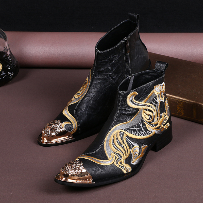 Fashion Animal Embroidery Metal Pointed Toe Ankle Boots Men Genuine Leather Zipper Short Boots Plus Size