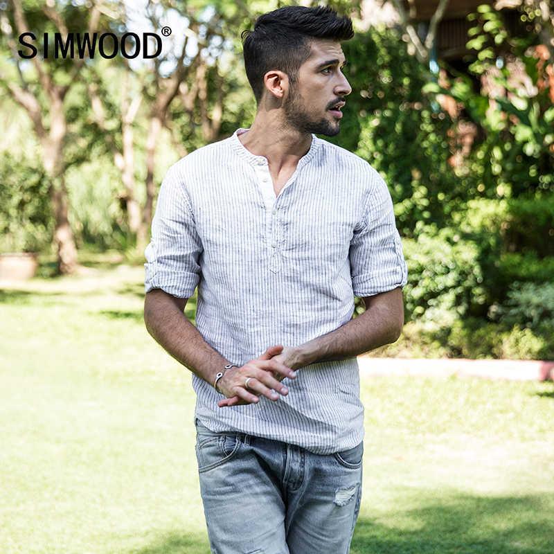 SIMWOOD 2019 nueva llegada de verano 100% camisas de lino para hombre Casual a rayas camisa de cuello de Enrique transpirable ropa fresca para hombre 180138