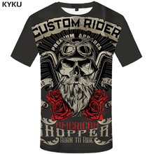 KYKU Brand Motorcycle Shirt Punk Shirts Knight  3d T Men Casual Rock Vintage Hip Hop Summer Clothes