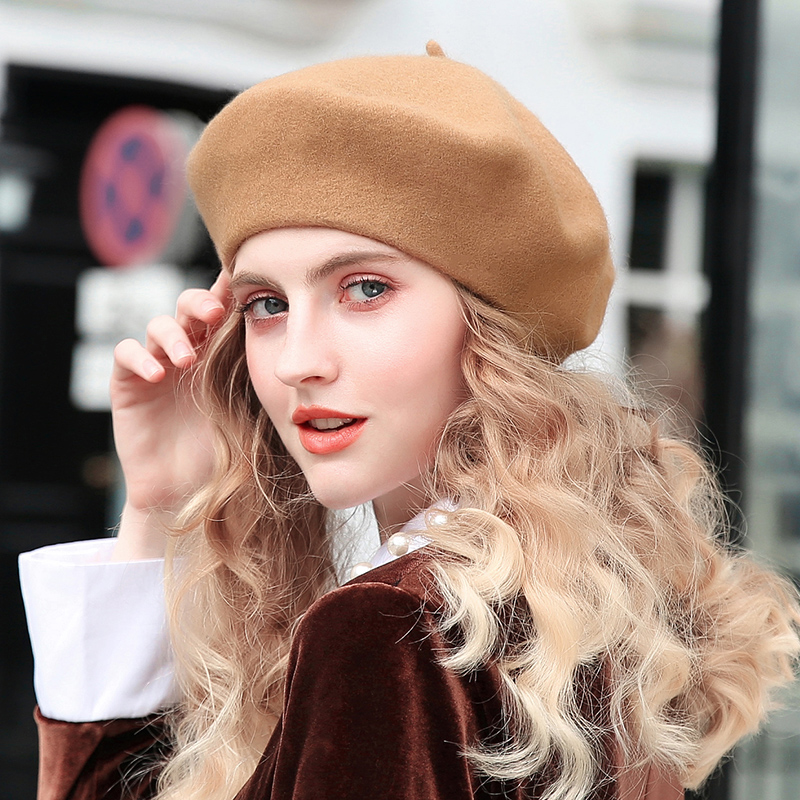 Slouchy 100% Pure Wool Felt Beret Women Fashion British Style Girls Beret Hat Lady Solid Color Winter Hats Women Dropshipping(China)
