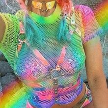 Kobiety laserowe przezroczyste pcv klatkowe biustonosz uprząż na ciało 2019 Sexy pas biodrowy Bondage kobiet holograficzne z paskami na górze paski