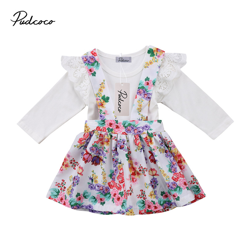 0 to 24M Newborn Kids Cute Baby Girls Clothes Long Sleeve Romper +Tutu Sirt Dress Floral 2pcs Outfits Baby Clothing Set 0-24M