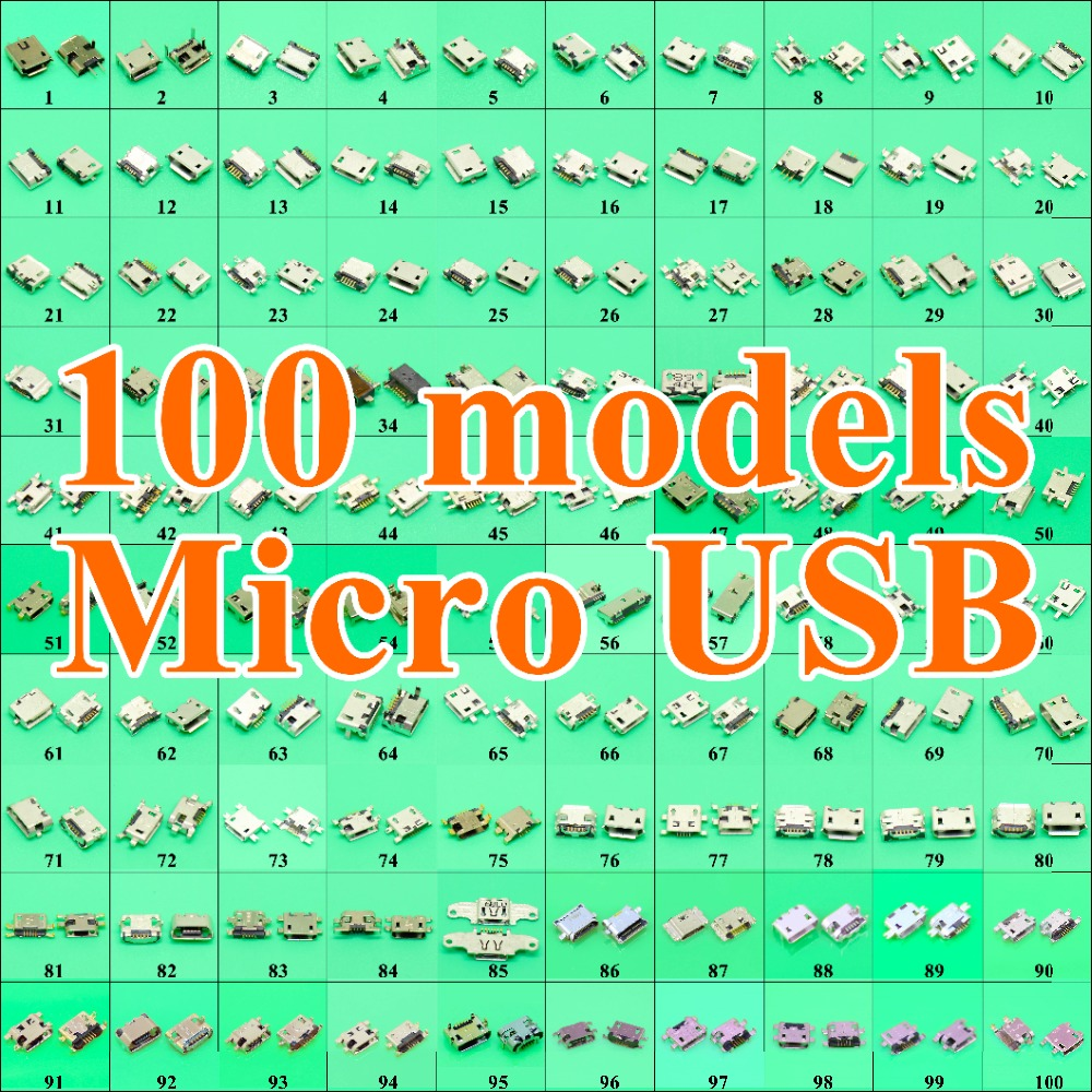 Image 3 - 100Model 1000pcs Micro USB 5Pin jack tail,Mini Micro Usb Connector v8 port charging socket for Samsung Lenovo Huawei ZTE HTC ect-in Connectors from Lights & Lighting