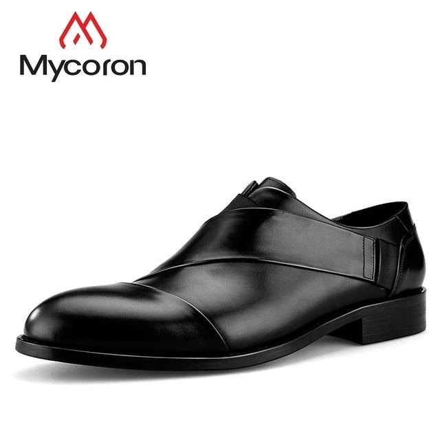 902ef8fbbc4ed4 MYCORON Leather Boots Men Pointed Toe Luxury Designers Man Dress Shoes  Black Top Quality Wedding Shoes Sapatenis Masculino