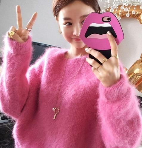 New genuine mink cashmere font b sweater b font font b women b font thickening pullovers