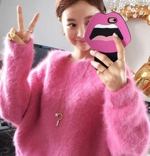 New genuine mink cashmere sweater women thickening pullovers knitted pure mink jacket Before long after short