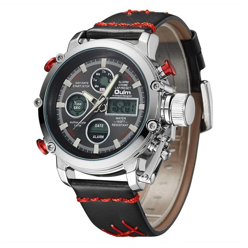 Dual Display Analog Digital Watch Male Genuine Leather Calendar Alarm Quartz Wrist Watch Man