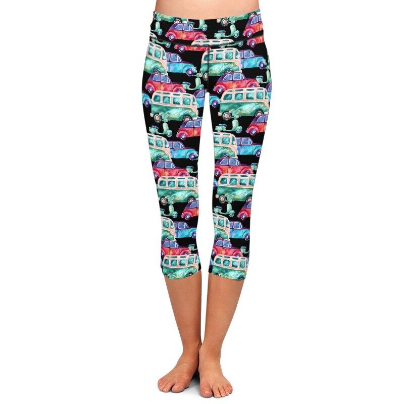 LETSFIND Women Fashion High Waist Capri Leggings 3D Cartoon Cars Ptint Fitness Plus Size Elastic Mid-Calf Leggings Summer New