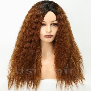 Image 3 - Lisi cabelo 22 inchs para cabelo preto onda de água longo ombre preto/marrom perucas sintéticas afro americano penteado