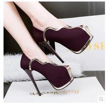 2016 summer fish mouth high-heeled shoes heel waterproof platform heels sexy shoes nightclub shallow mouth banquet women's shoes