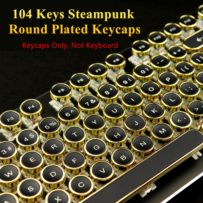 100% True 104 Keys Steampunk Round Golden Silver Black White Keycap Key Cap Keycaps Ansi Layout For Cherry Mx Gaming Mechanical Keyboard Computer Peripherals Computer & Office