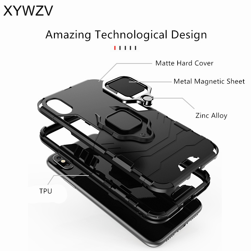 Image 4 - Vivo Y91 Case Shockproof Cover Hard PC Armor Metal Finger Ring Holder Phone Case For Vivo Y91 Protection Back Cover For Vivo Y91-in Fitted Cases from Cellphones & Telecommunications