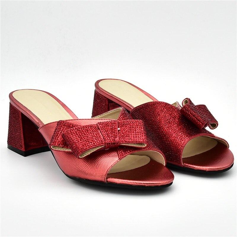 Strass Slip Talons rouge Italien Femmes Haute Luxe Sur Qualité Or Chaussures De 2019 Dames rose Soirée pourpre Avec Décoré vert ROpqYwzw