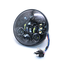 5.5 '' 12v Universal Motorcycle Round Headlight LED DRL Projector HeadLamp With Turn Signal For Harley Cafe Racer Touring