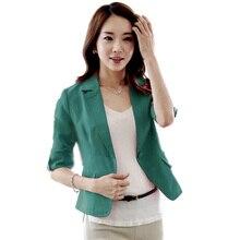 Women Three Quarter Sleeve V Neck Solid Color Coat Lady Button Short Office Suit Jacket Coat Women Plus Size