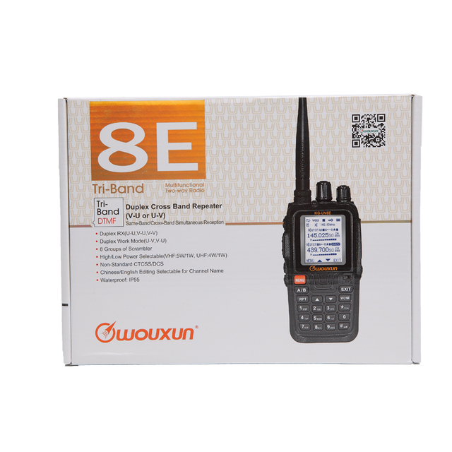 Wouxun kg-uv8e tri-bands walkie talkie 136-174/220-260/400-520mhz cross band repeater ham radio cb portable upgrade