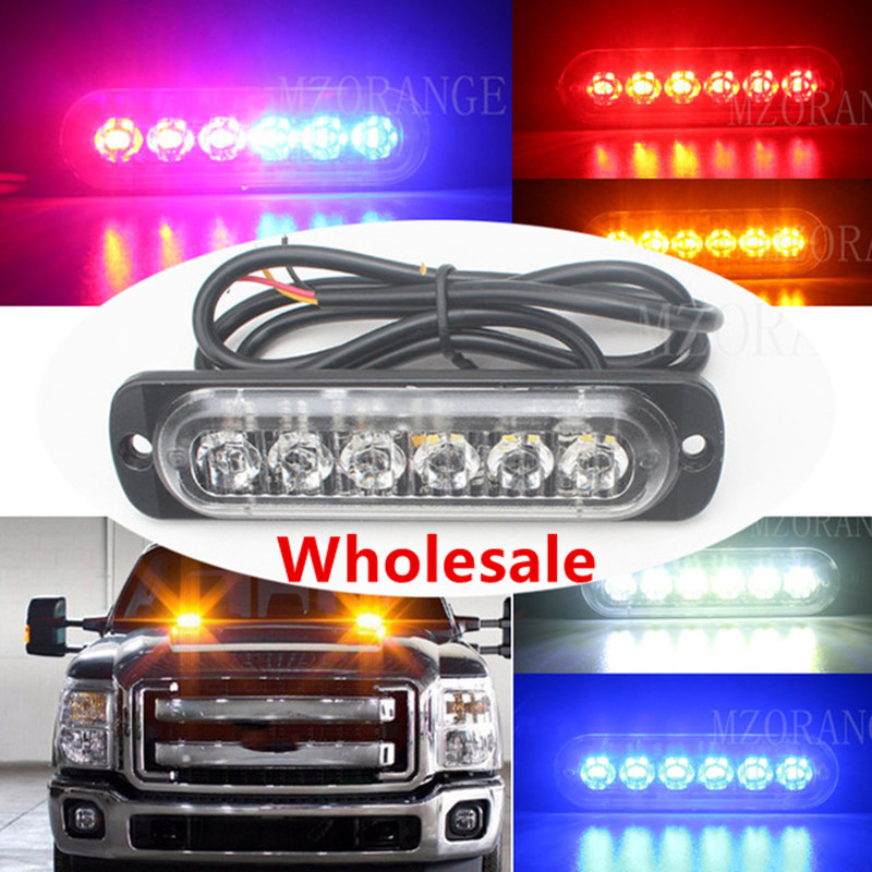 MZORANGE 6LED Car Truck Pickup Emergency Ultra thin 12V 24V Side Strobe Security Running Warning Flashing